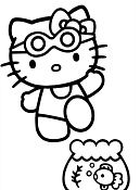 Hello Kitty Go Swimming Coloring Page
