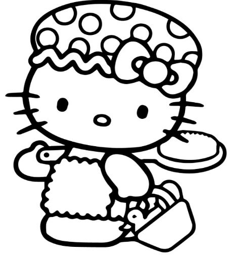 Hello Kitty Go To Bathe Coloring Page