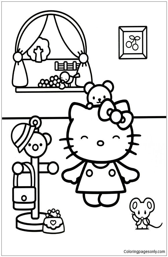Hello Kitty Going Outside Coloring Page