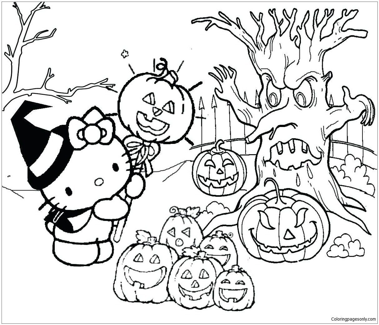 Hello Kitty Halloween 1 Coloring Pages Cartoons Coloring Pages Free Printable Coloring Pages Online