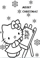 Hello Kitty Happy Christmas Holiday Coloring Page