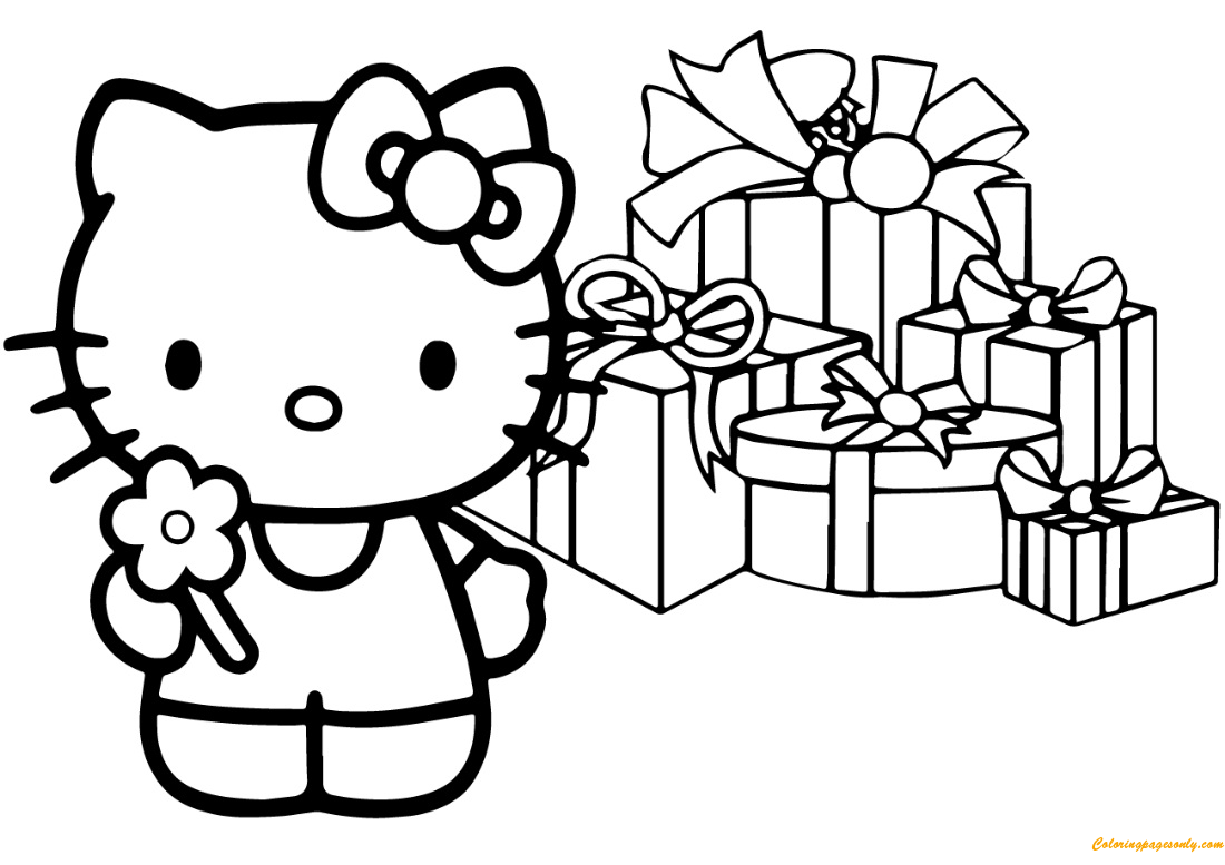 Hello Kitty Happy Christmas Coloring Pages