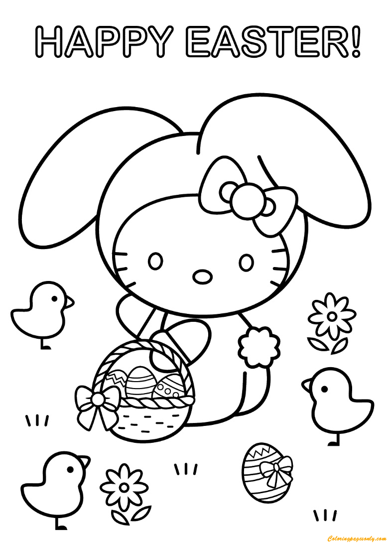 Hello Kitty Plush Easter Basket Set Coloring Page