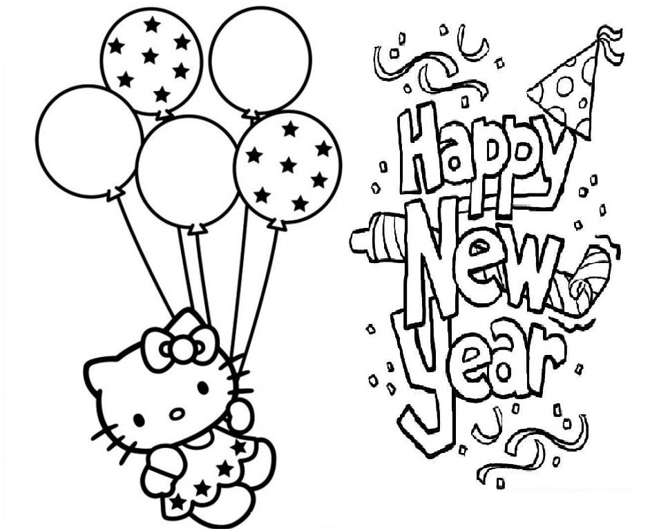 Hello Kitty Hy New Year Coloring