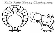 Hello Kitty Happy Thanksgiving 2 Coloring Page