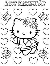 Hello Kitty Happy Valentines Day Coloring Page