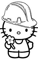 Hello Kitty Hard Hat Coloring Page