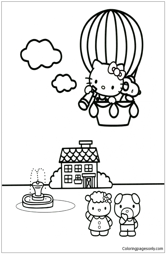 Hello Kitty High In The Sky Coloring Page