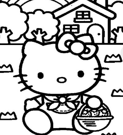 Hello Kitty's House Coloring Page