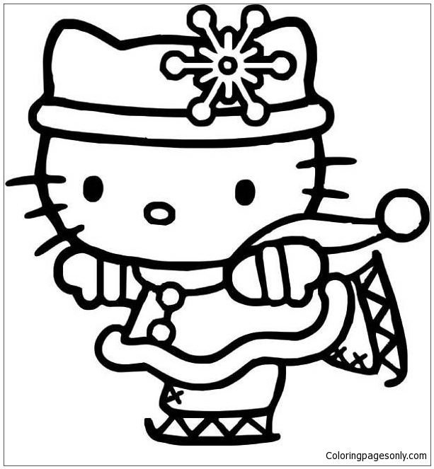 About Hello Kitty Ice Skating 1 Coloring Page This Features A Picture