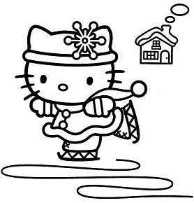 Hello Kitty Ice Skating 3 Coloring Page