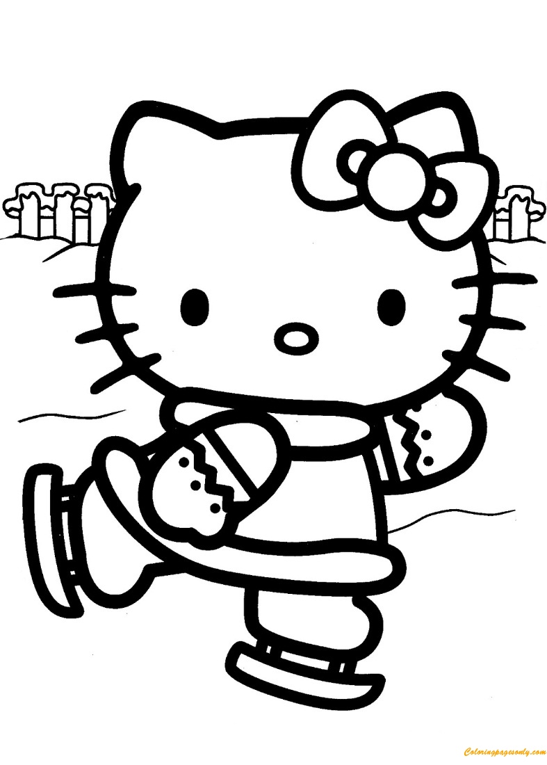 Hello Kitty Ice Skating Coloring Page