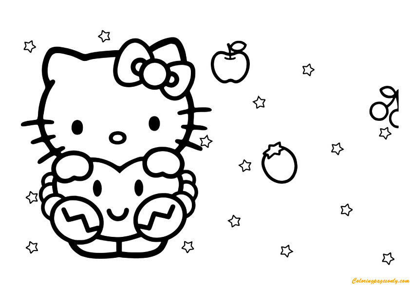Hello Kitty In Her Dreams Coloring Page