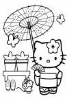 Hello Kitty In Japan Coloring Page