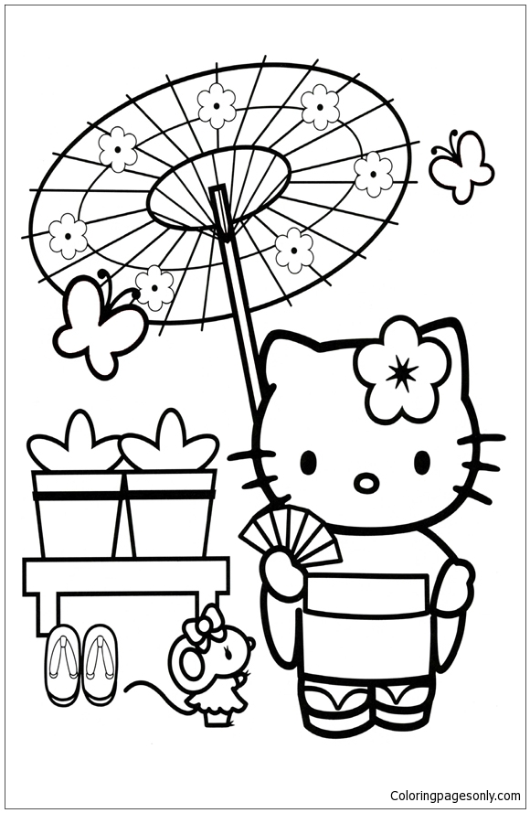 Hello Kitty In Japan Coloring Page Free Coloring Pages Online