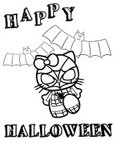 Hello Kitty In Spiderman Costume Halloween Festival Coloring Page
