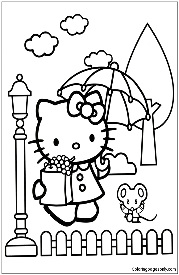 Hello Kitty In The Rain Coloring Pages Cartoons Coloring Pages Free Printable Coloring Pages Online