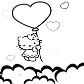 Hello Kitty is Flying With Heart Balloons