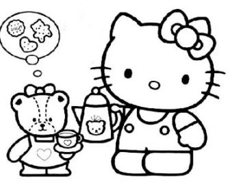 Hello Kitty And Her Doll Is Fond Of Food