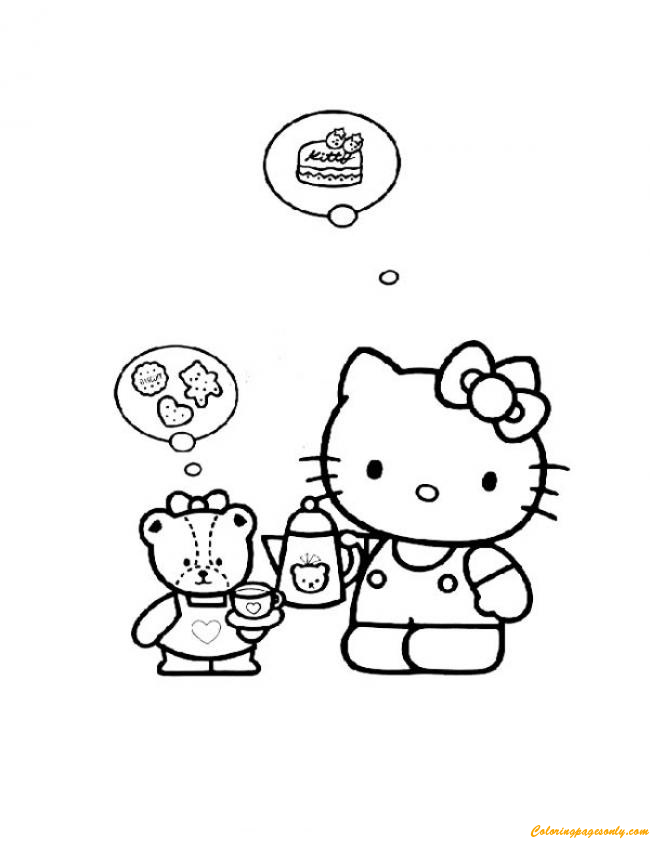 Hello Kitty And Her Doll Is Fond Of Food Coloring Page