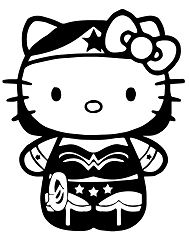 Hello Kitty is playing dress-up as Wonder Woman