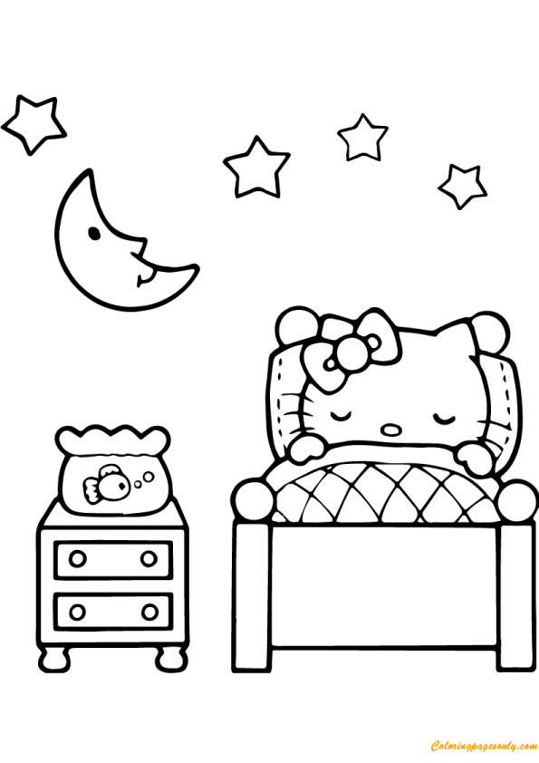 Hello Kitty Is Sleeping Coloring Page