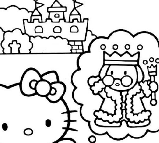 Hello Kitty, King And The Castle Coloring Page