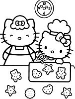 Hello Kitty Learning To Make Bake Cakes With Her Mother Coloring Page