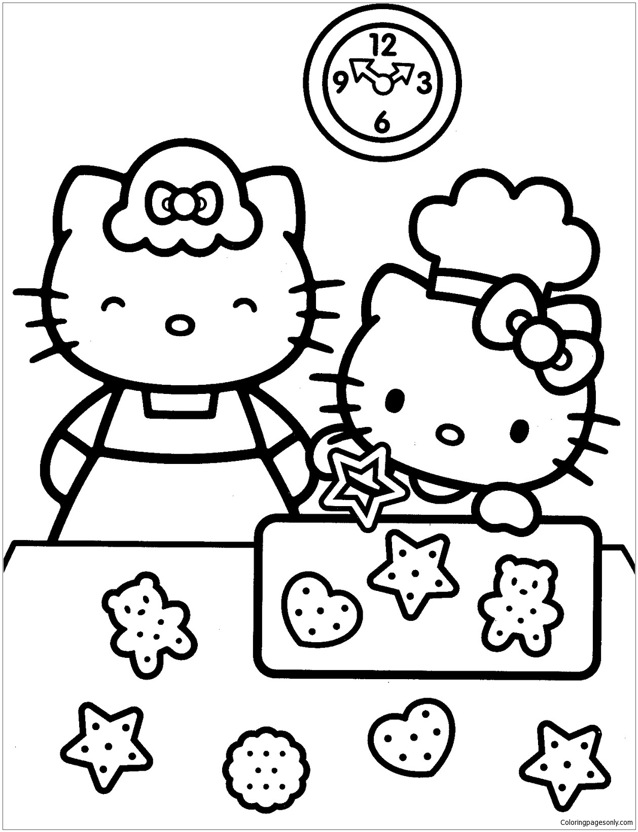 Hello Kitty Learning To Make Bake Cakes With Her Mother Coloring ...