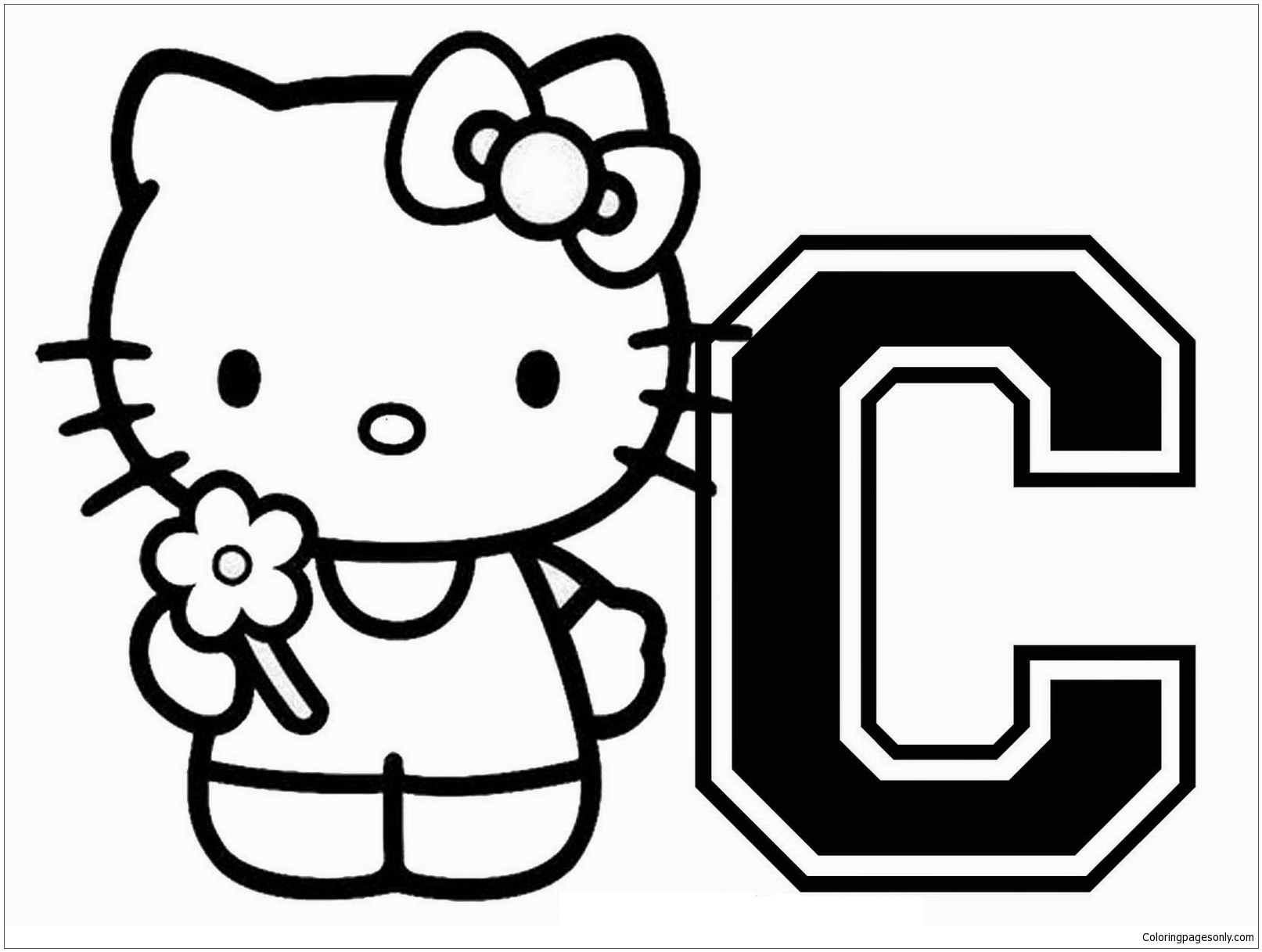 Hello Kitty Letter C Coloring Page