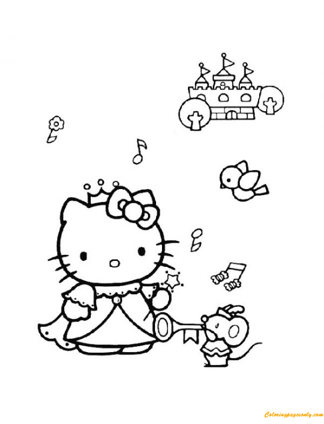 Hello Kitty Listen To The Music Coloring Page