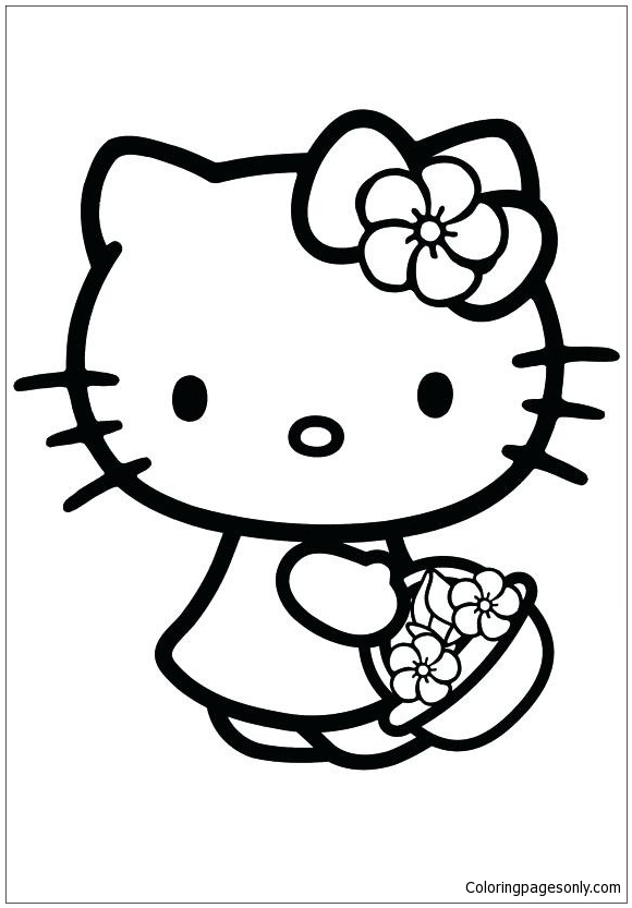 Hello Kitty Lovely Coloring Pages