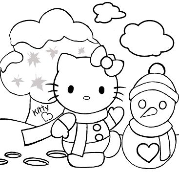 Hello Kitty Making A Snowman