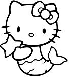Hello Kitty Mermaid 2 Coloring Page