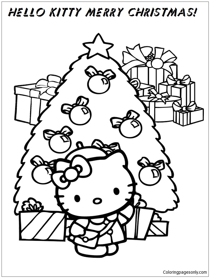 Hello Kitty Merry Christmas Coloring Page - Free Coloring ...