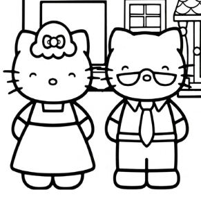 Hello Kitty At The Beach Coloring Page Free Coloring