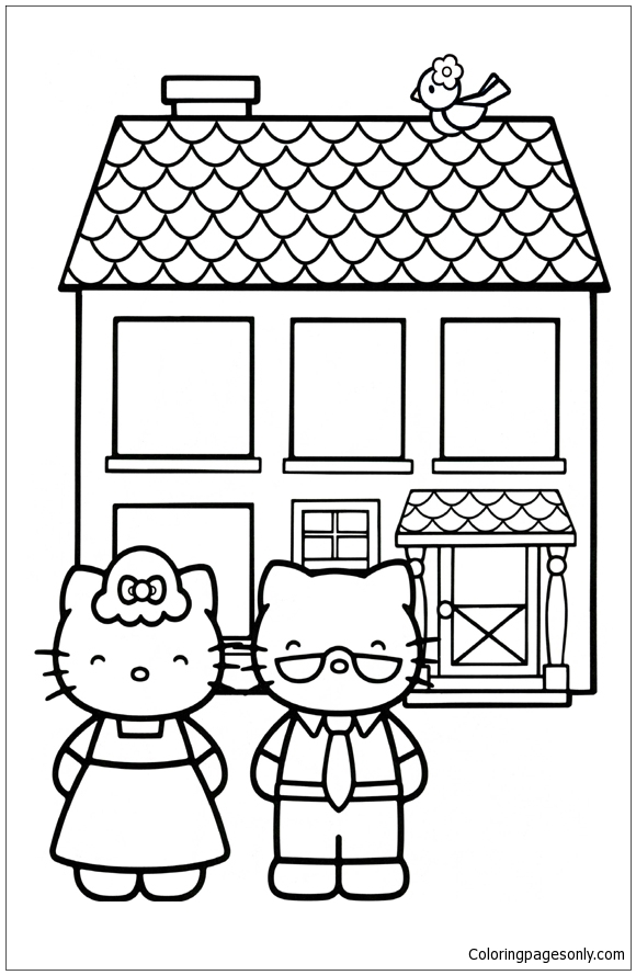 Hello Kitty Mom And Dad Coloring