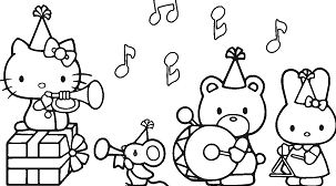 Hello Kitty Music Coloring Page
