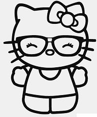Hello Kitty Nerd 1 Coloring Page