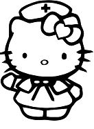 Hello Kitty Nurse Coloring Page