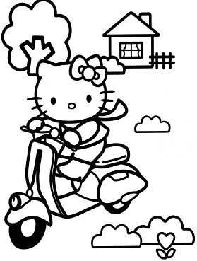 Hello Kitty On A Scooter