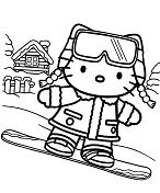 Hello Kitty on snowboard Coloring Page