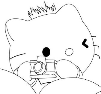 Hello Kitty Photographer Coloring Page