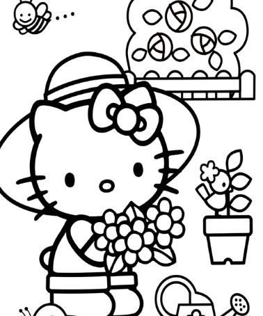Hello Kitty Picking Flowers