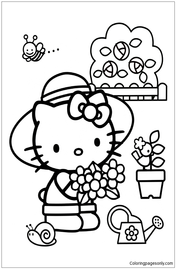 Hello Kitty Picking Flowers Coloring Page