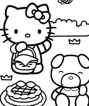 Hello Kitty Picknick In The Park Coloring Page
