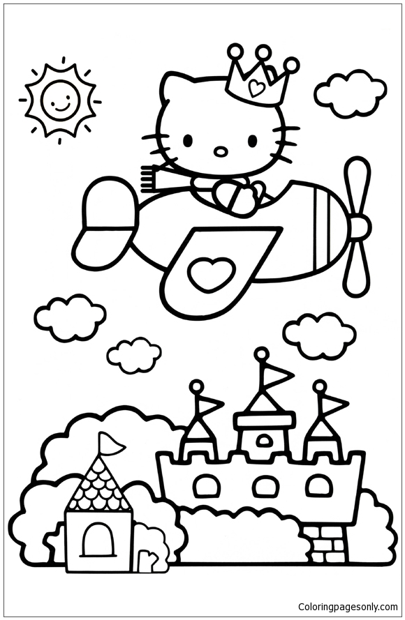 Hello Kitty Plane Coloring Page