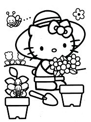Hello Kitty planting flowers