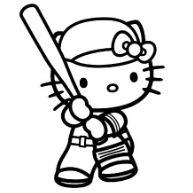Hello Kitty Playing Baseball Game Coloring Page