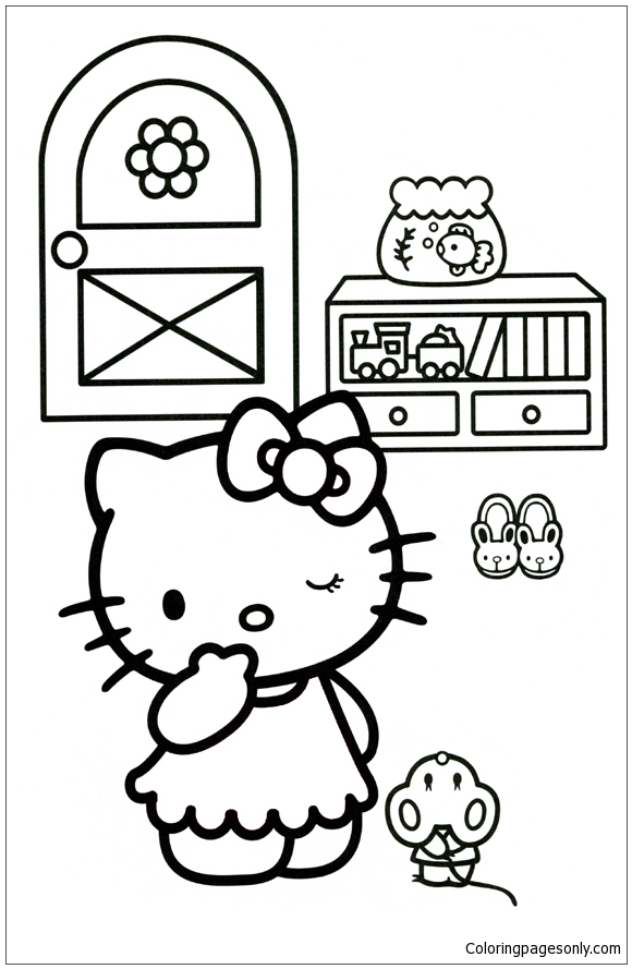 Hello Kitty Playing Hide And Seek Coloring Page